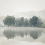 De mist op een meer bij dageraad met bomen en bergen dacht in na royalty-vrije stock afbeelding