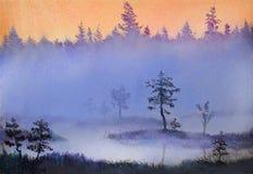 De mist Riet met regendruppels royalty-vrije illustratie