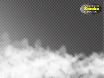 De mist of de rook isoleerde transparant speciaal effect Witte vectortroebelheid, mist of smogachtergrond Vector illustratie stock illustratie