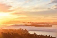 De Mistige Zonsopgang van Vancouver Stock Afbeelding