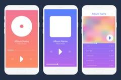 De mobiele App Reeks van de Muziekspeler Verschillende variaties Stock Afbeeldingen