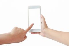 De mobiele die telefoon van het aanrakingsscherm ter beschikking op witte achtergrond wordt geïsoleerd stock afbeeldingen