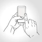 De mobiele gebaren van de telefoonaanraking -- raak het scherm Stock Fotografie