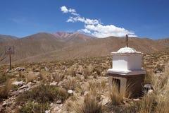 De mobiele grens van het telefoonsignaal bij de Abra del Condor-bergpas 4000 m op de grens van de Provincie van Salta en Jujuy-,  royalty-vrije stock afbeelding