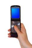 De mobiele in hand telefoon van de tik Royalty-vrije Stock Afbeelding