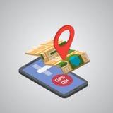 De mobiele navigatie van GPS met tablet of smartphone Stock Afbeelding