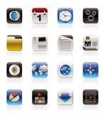 De mobiele Pictogrammen van de Telefoon, van de Computer en van Internet stock illustratie