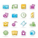 De mobiele pictogrammen van het telefoonmenu Stock Afbeeldingen