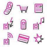 De mobiele pictogrammen van het telefoonWeb, roze contourreeks Stock Foto's