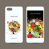De mobiele rug van de telefoondekking en het scherm, bloemenboom vector illustratie