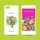 De mobiele rug van de telefoondekking en het scherm, bloemenboom royalty-vrije illustratie