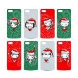 De mobiele rug van de telefoondekking Kerstmanmeisjes voor uw vector illustratie
