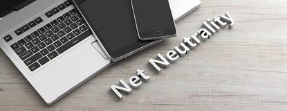De mobiele telefoon en de tablet en computerlaptop op houten achtergrond, kopiëren ruimte, netto neutraliteitsteksten 3D Illustra Royalty-vrije Stock Afbeeldingen