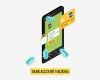 De mobiele telefoon van de hakkeractiviteit en virussenbankrekening Stock Foto's