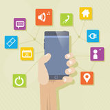 De Mobiele telefoon van verschillende media Stock Fotografie