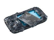 De mobiele telefoonbatterij explodeert en brandwonden gepast om gevaar te oververhitten om slimme telefoon te gebruiken royalty-vrije stock foto's