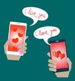 De mobiele telefoongesprekken van de telefoonliefde en verklaringen van liefde Stock Foto