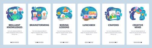 De mobiele toepassing onboarding schermen Creativiteit, uitwisseling van ideeën, kennis en onderwijs, boring lessen Menu vectorba vector illustratie