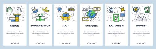 De mobiele toepassing onboarding schermen Reispictogrammen, luchthaven, taxi, bergreis Malplaatje van de menu het vectorbanner vo stock illustratie