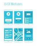 De mobiele UI en Uitrusting van UX Wireframes Stock Foto