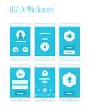 De mobiele UI en Uitrusting van UX Wireframes Royalty-vrije Stock Afbeelding