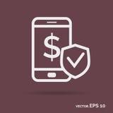 De mobiele van het het overzichtspictogram van de geldveiligheid witte geïsoleerde kleur Stock Foto