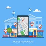 De mobiele vectorillustratie van het navigatieconcept Smartphone met gps stadskaart op het scherm en route Stock Foto's