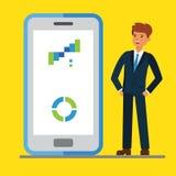De mobiele zaken van Internet Zakenlieden die zich dichtbij vertoning van een grote slimme telefoon bevinden vlakke concepten vec stock illustratie