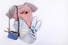 De moda modernos buscan el lookbook elegante del blog de la moda Endecha plana de la ropa elegante para la revista de la mujer Foto de archivo libre de regalías