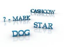 De model 3d sleutelwoorden van de marketing in blauw Stock Afbeeldingen