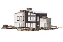 De model status van het huis op Amerikaanse muntstukken Stock Foto's