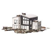 De model status van het huis op Amerikaanse muntstukken Royalty-vrije Stock Afbeeldingen