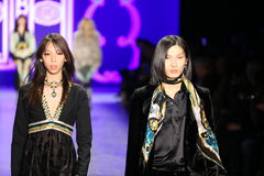De modellen lopen de baan in Anna Sui Fall 2016 tonen Royalty-vrije Stock Fotografie