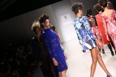 De modellen lopen de baan bij de modeshow van FTL Moda tijdens Mercedes-Benz Fashion Week Fall 2015 Royalty-vrije Stock Afbeeldingen