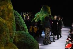 De modellen lopen het baanfinale bij de modeshow van Altuzarra Februari 2017 Stock Foto's