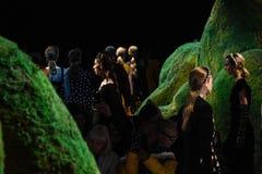 De modellen lopen het baanfinale bij de modeshow van Altuzarra Februari 2017 Royalty-vrije Stock Foto's