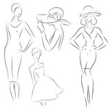 De modellen van de maniervrouw, schets Stock Afbeelding