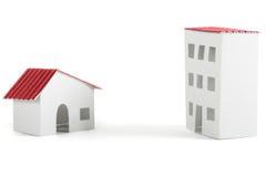 De modellen van het document van dorp en stadswoningshuizen stock afbeeldingen