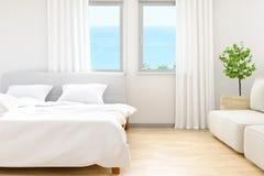 De moderna av vita sovrumsängark och kuddar, komfort och det sängkläderbegreppet och havet sätter på land bakgrund på fönster, 3D Royaltyfri Foto