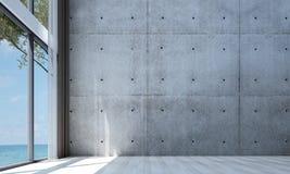 De moderna tömmer design för vardagsrumkorridor- och soffavardagsruminre och röd betongväggmodellbakgrund Royaltyfri Fotografi