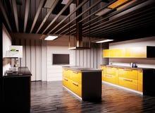De moderne 3d keuken geeft terug Stock Foto's
