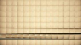 De moderne abstracte oppervlakte van het metaalnet roteert golf van heldere gouden kubussen vector illustratie