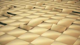 De moderne abstracte oppervlakte van het metaalnet roteert golf van heldere gouden kubussen royalty-vrije illustratie