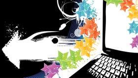 De moderne achtergrond van de technologieviering op zwarte Stock Afbeeldingen
