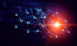 De moderne achtergrond van verbindingstechnologieën Gemengde media Royalty-vrije Stock Afbeeldingen