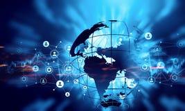 De moderne achtergrond van verbindingstechnologieën Gemengde media Stock Afbeeldingen