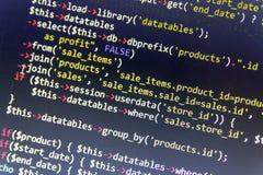 De moderne achtergrond van de Webontwikkeling Abstracte stukken van PHP code vector illustratie