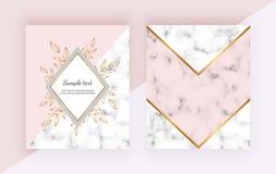 De moderne achtergronden met bloemen, marmeren geometrisch ontwerp, gouden lijnen, driehoekige vormen Malplaatjes voor uitnodigin royalty-vrije illustratie