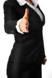 De moderne bedrijfsvrouw rekt uit hand voor handen uit Stock Fotografie