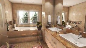 De moderne beige badkamers met twee daalt en grote spiegel 3D illustratie stock illustratie